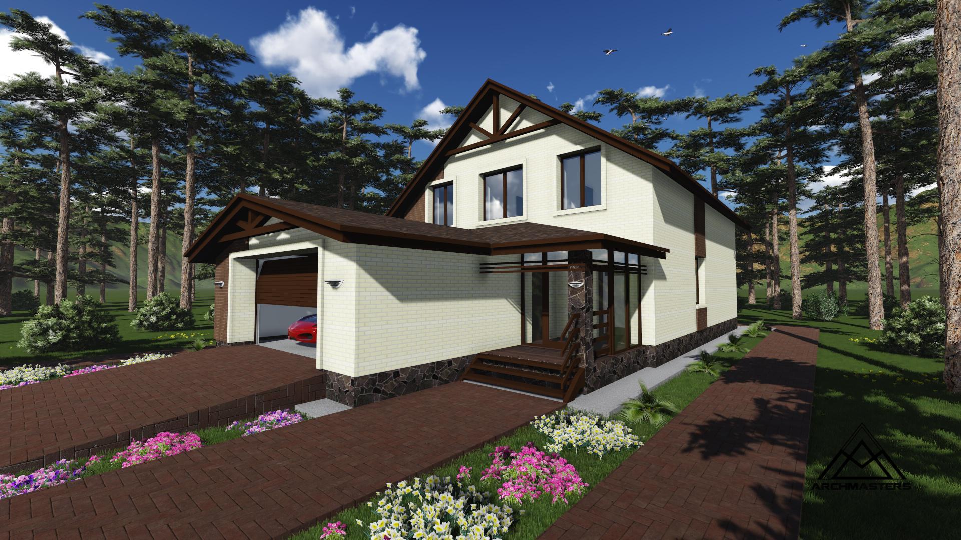 Проект кирпичного дома с гаражом