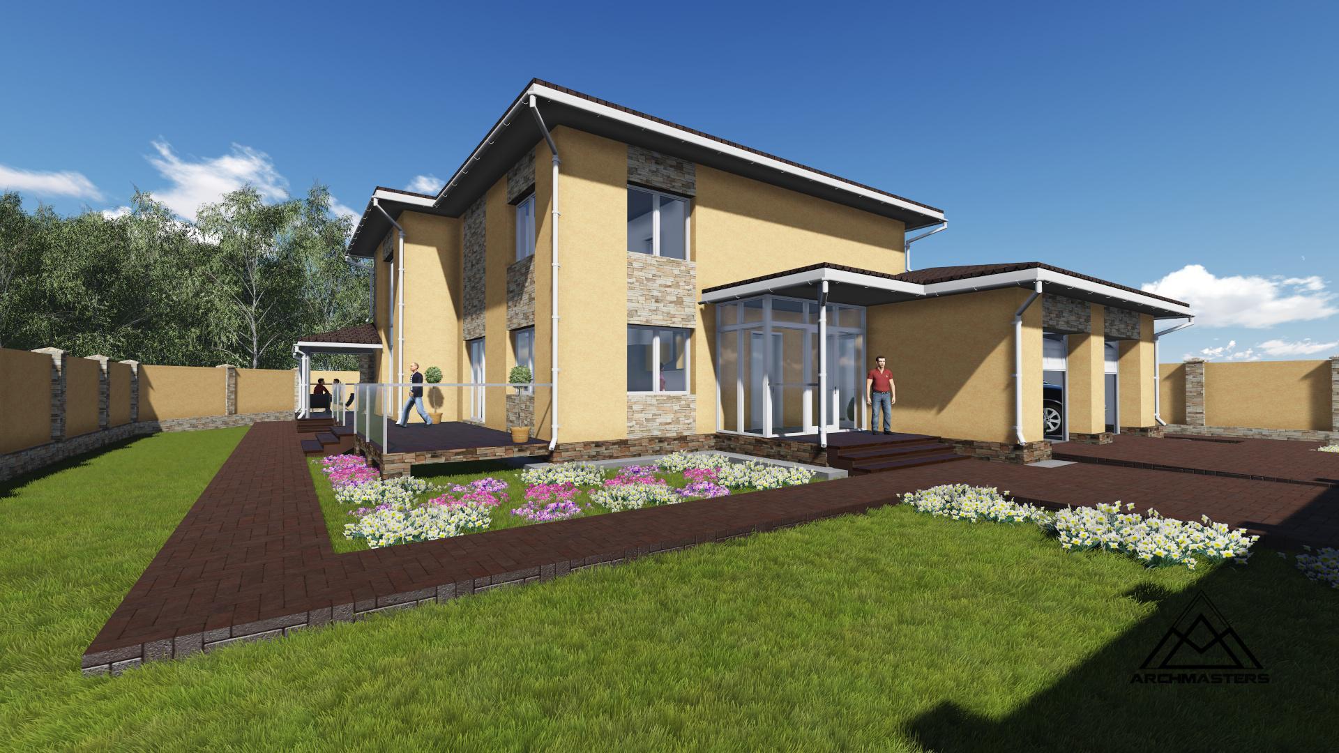 Проект дома из кирпича с гаражом