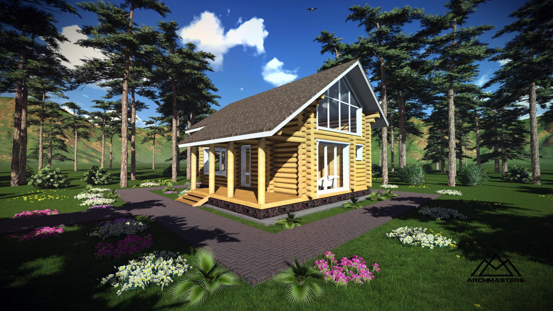 Видео-презентация дома: Баня с мансардой из оцилиндрованного бревна