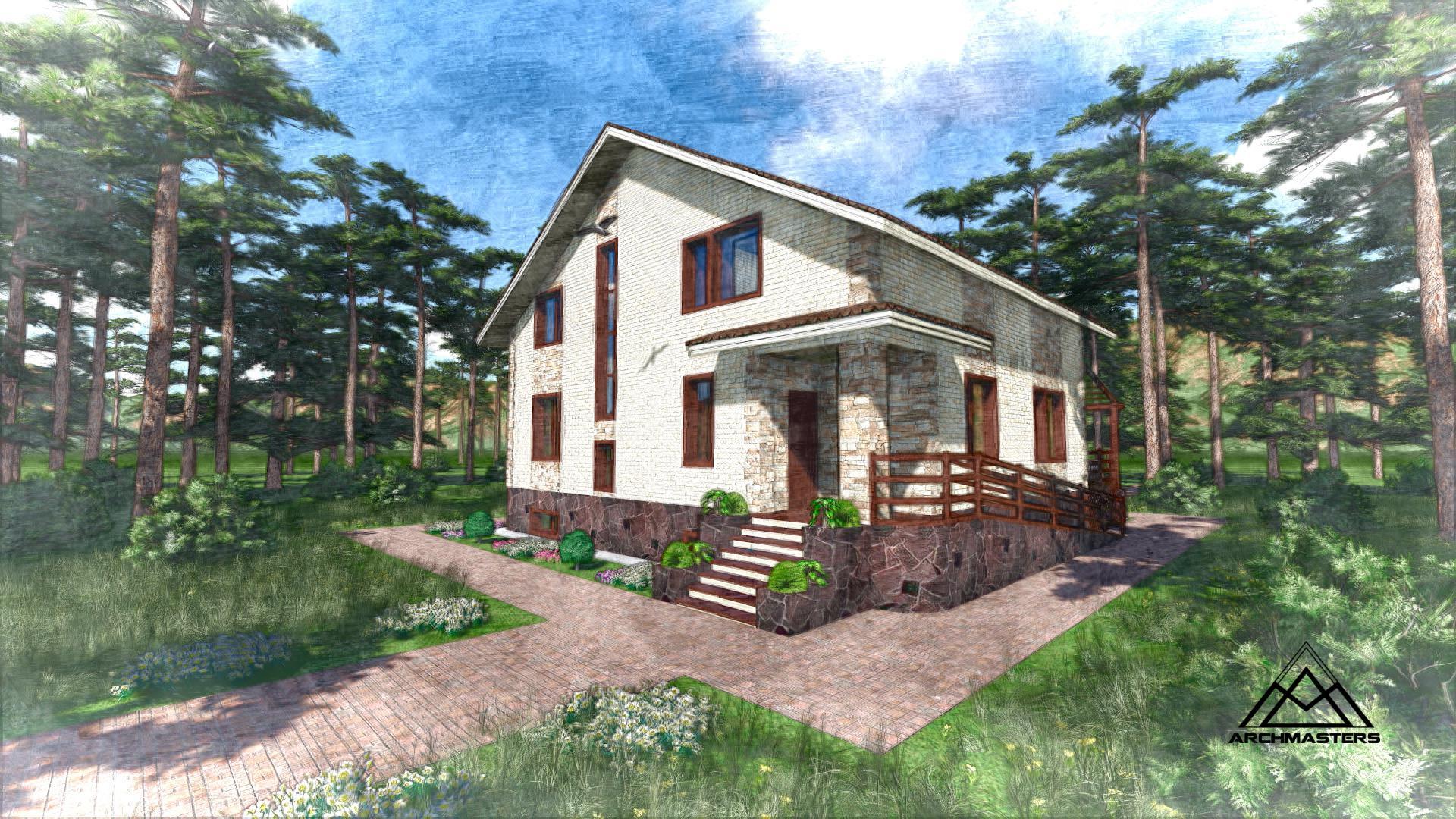 Проект дома из кирпича с террасой
