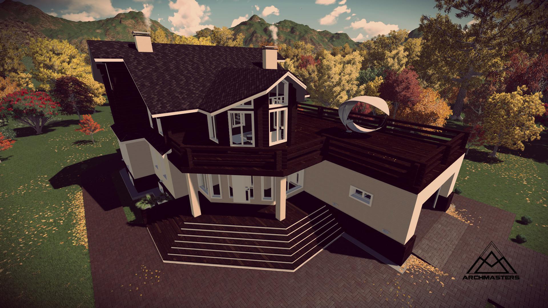 Видео-презентация дома: Проект дома из кирпича и бруса