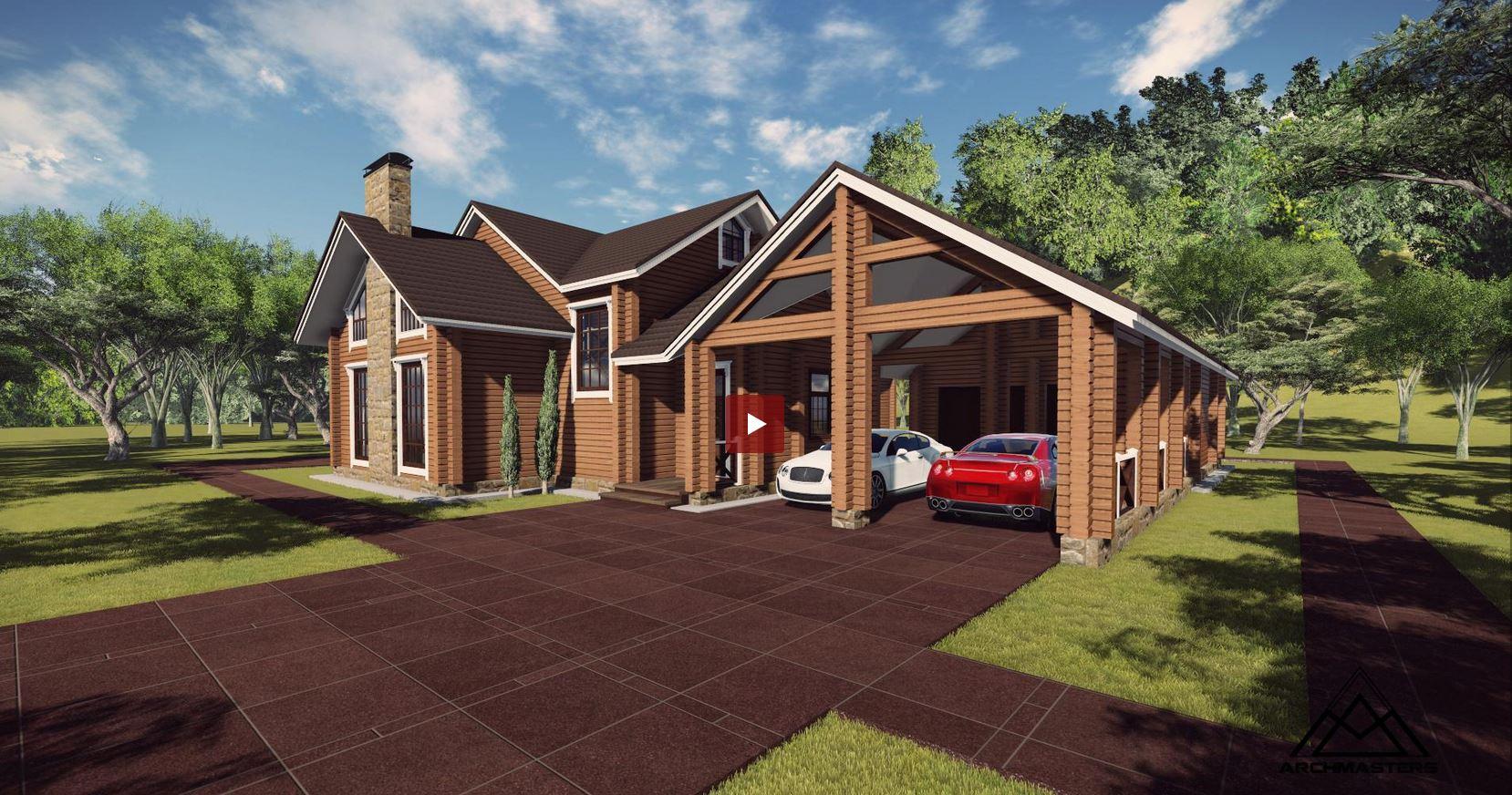 Проектирование коттеджей в Новосибирске - проект дачного дома в комплексе с баней и гаражом