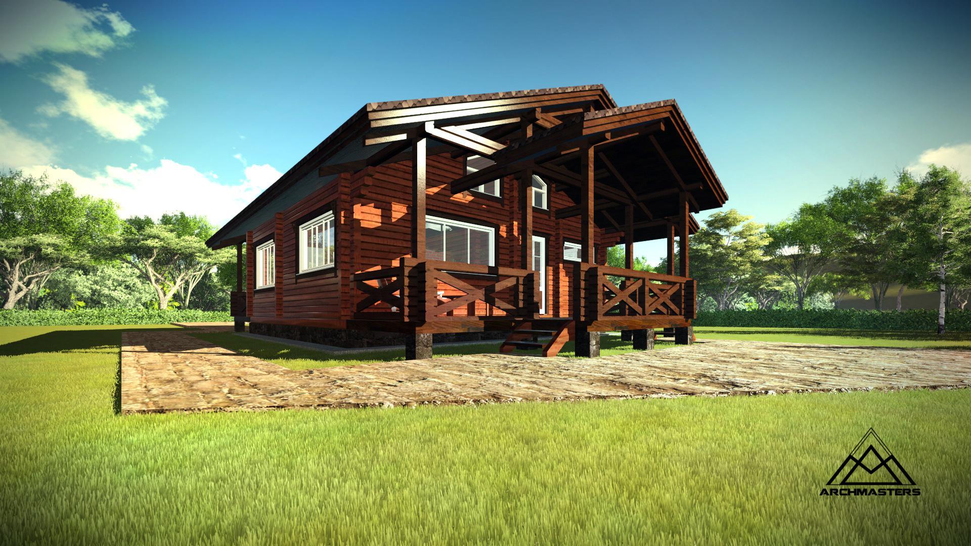 Видео-презентация дома: Одноэтажный дом с террасой из бруса