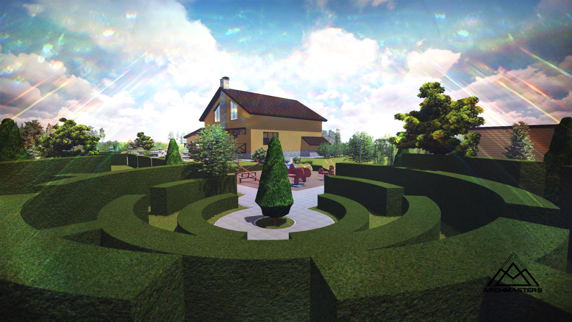Ландшафтный дизайн Новосибирск поселок «Белые росы»