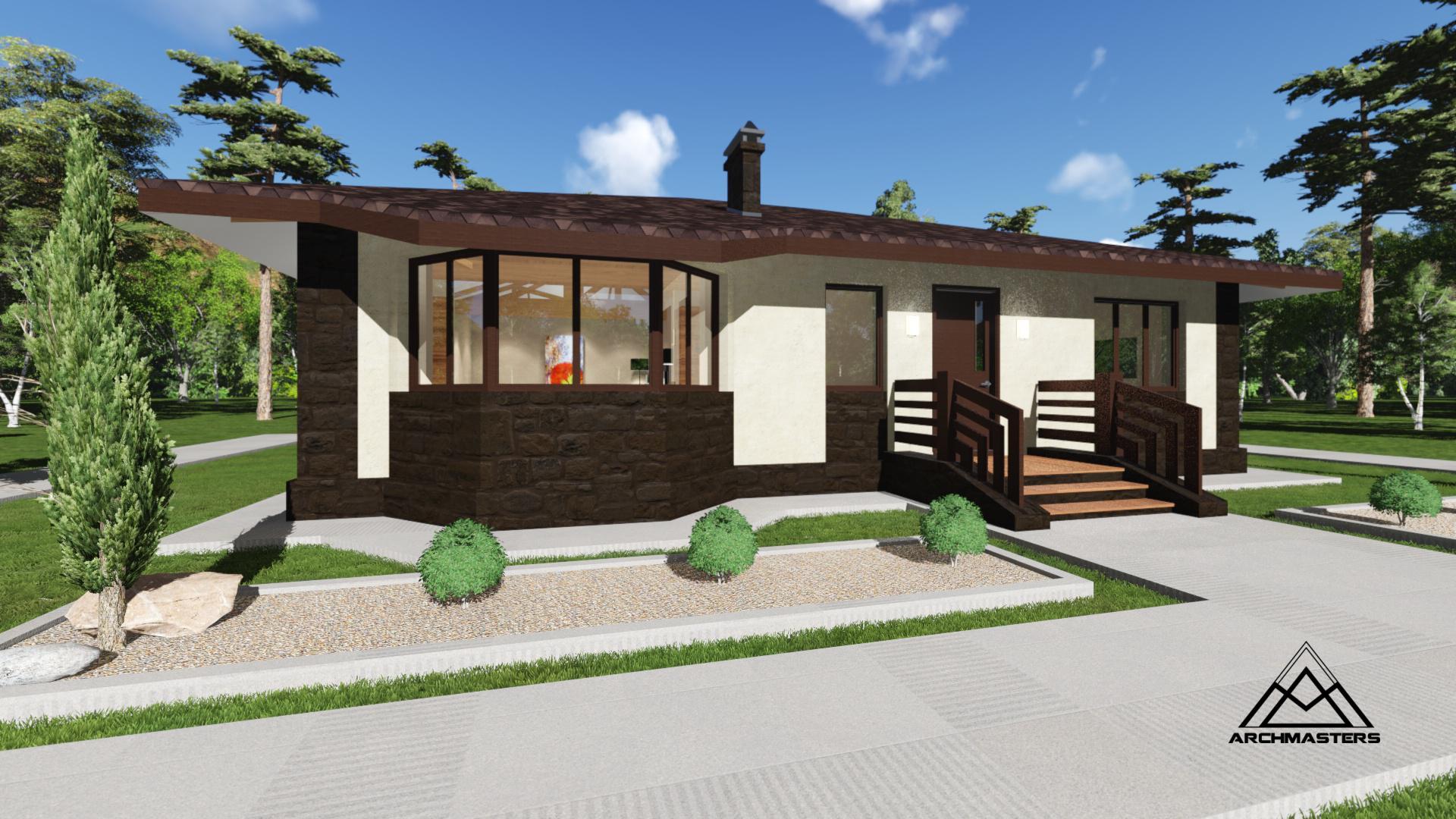 Одноэтажный дом из сибита