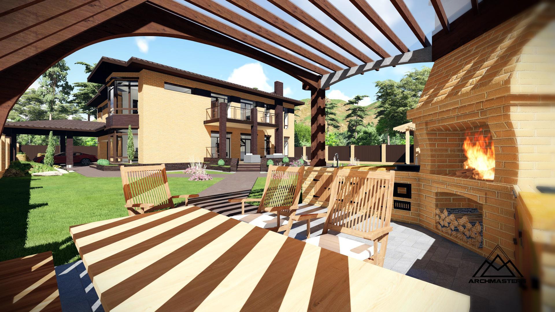 Дом в современном стиле из сибита