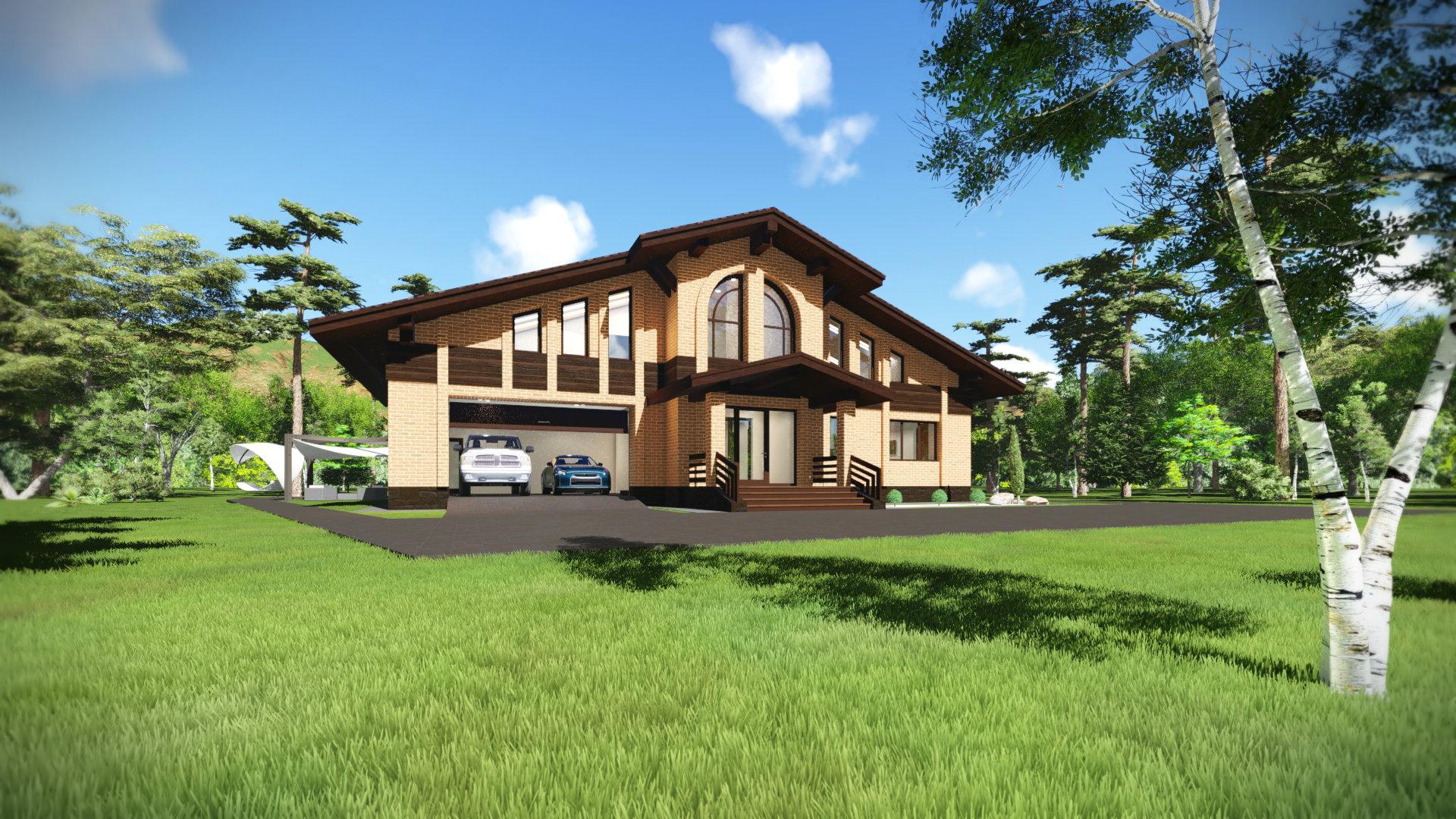 Одноэтажный дом с мансардным этажом из кирпича в стиле Шале