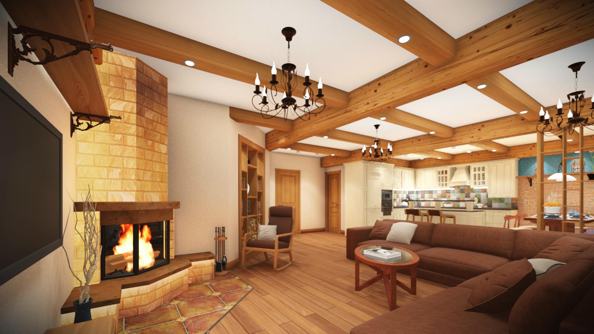 Дизайн интерьера дома в стиле шале г. Белокуриха