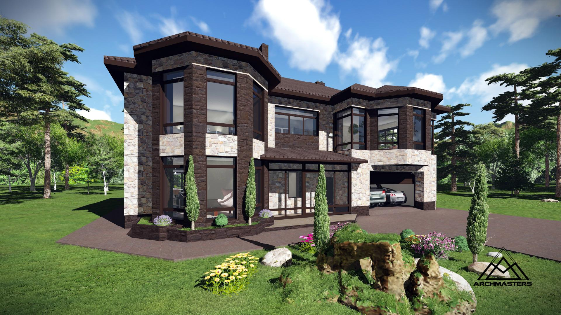 Двухэтажный дом из кирпича с облицовкой камнем