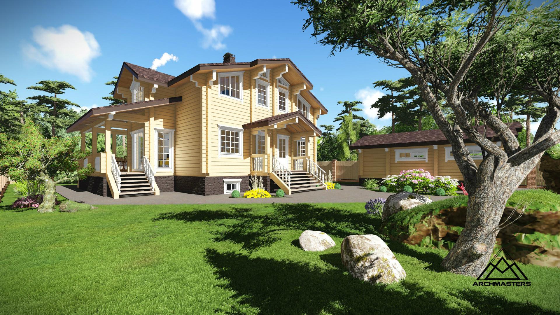 Дом из бруса в стиле шале с цокольным и мансардным этажом