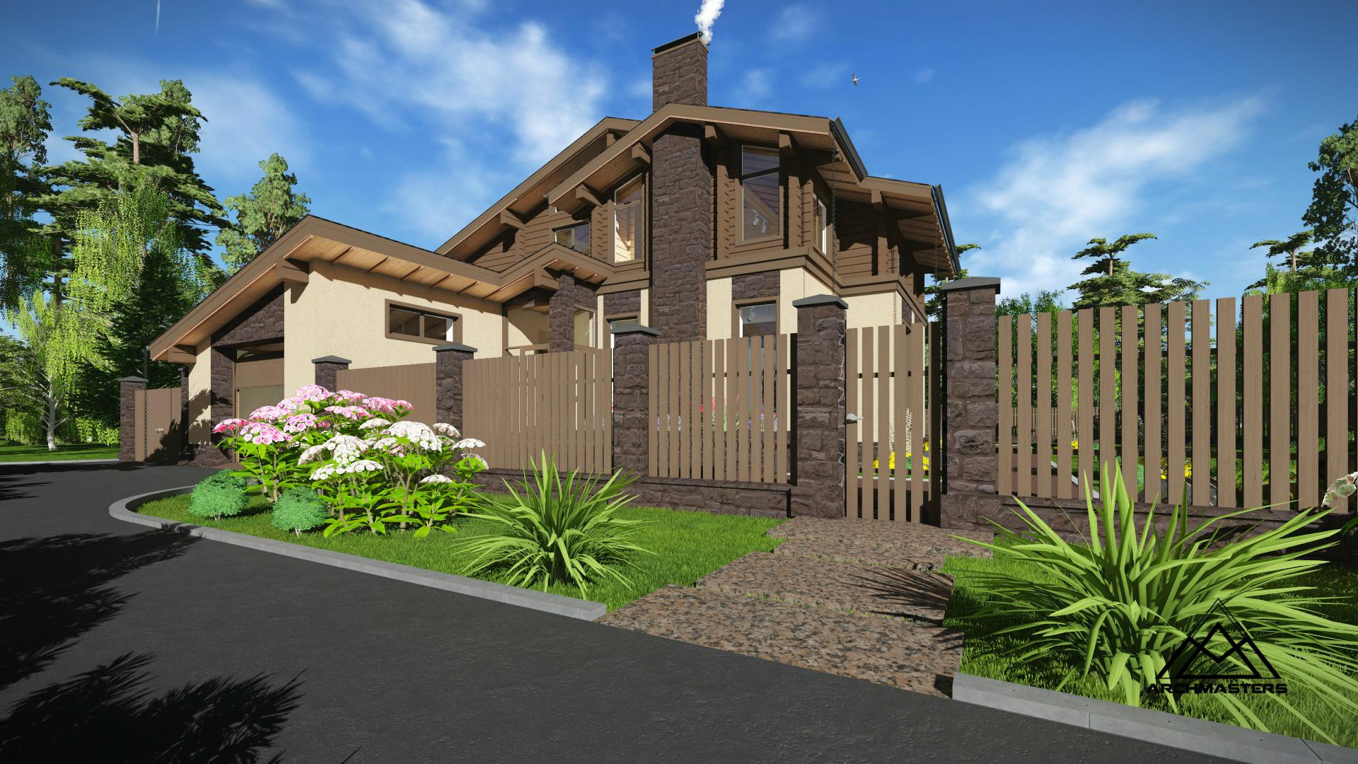 Проект дома из керамических блоков и клееного бруса