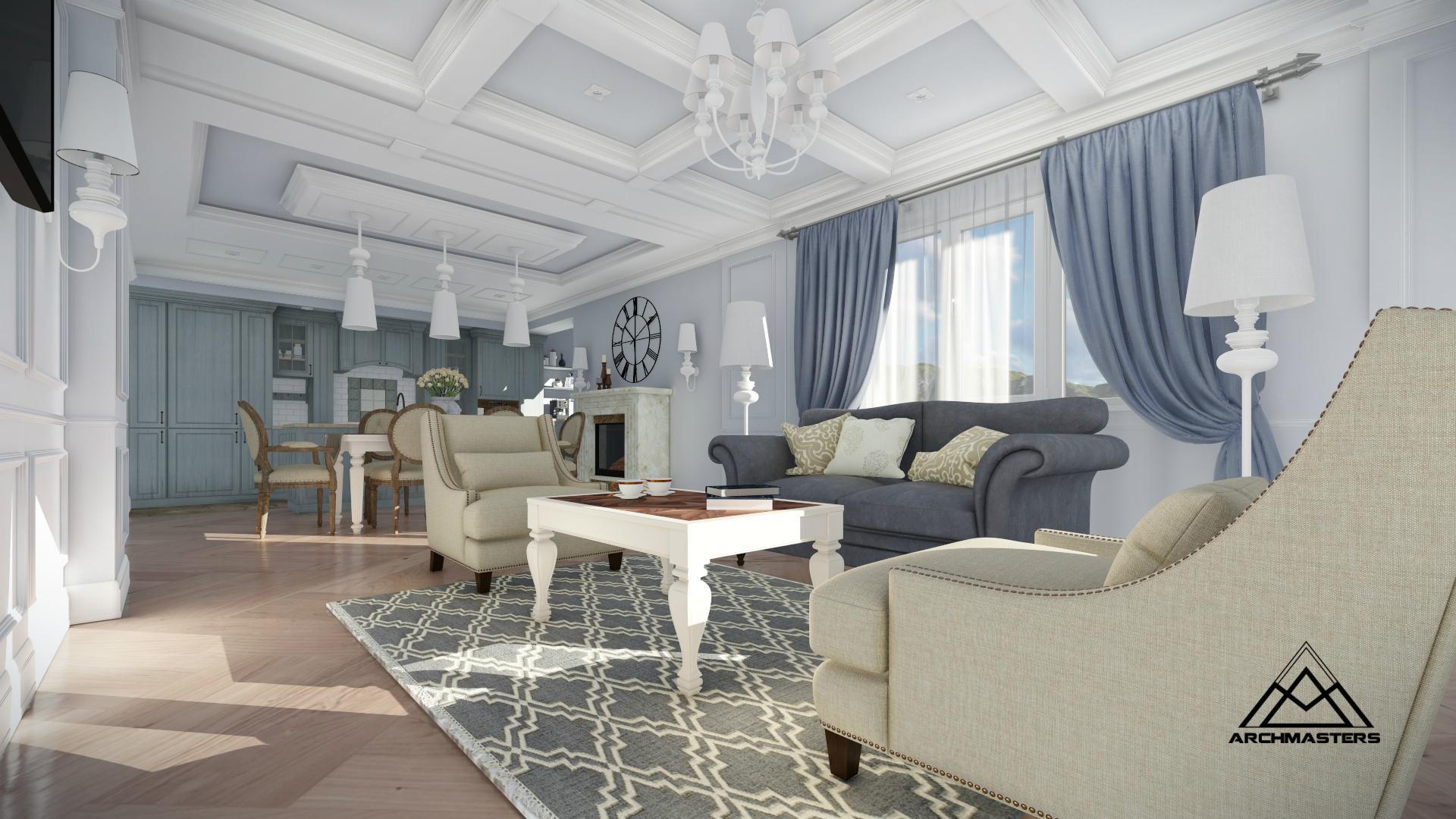 Дизайн-проект интерьера квартиры в современной американской классике