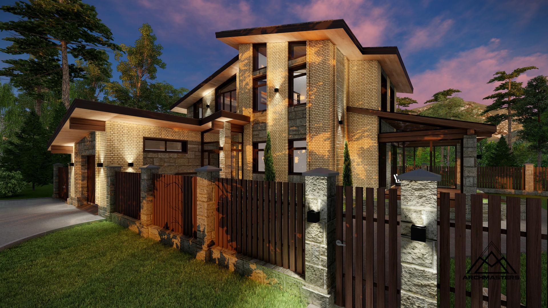 Проект одноэтажного дома с мансардой из кирпича