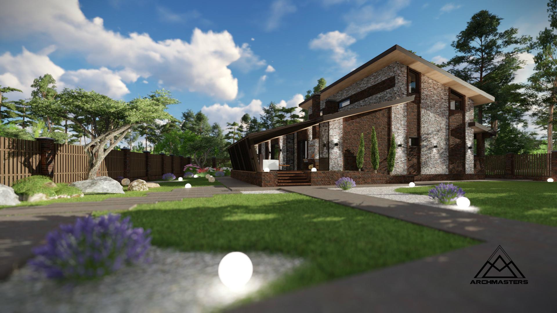 Проект одноэтажного дома с мансардой из керамоблока