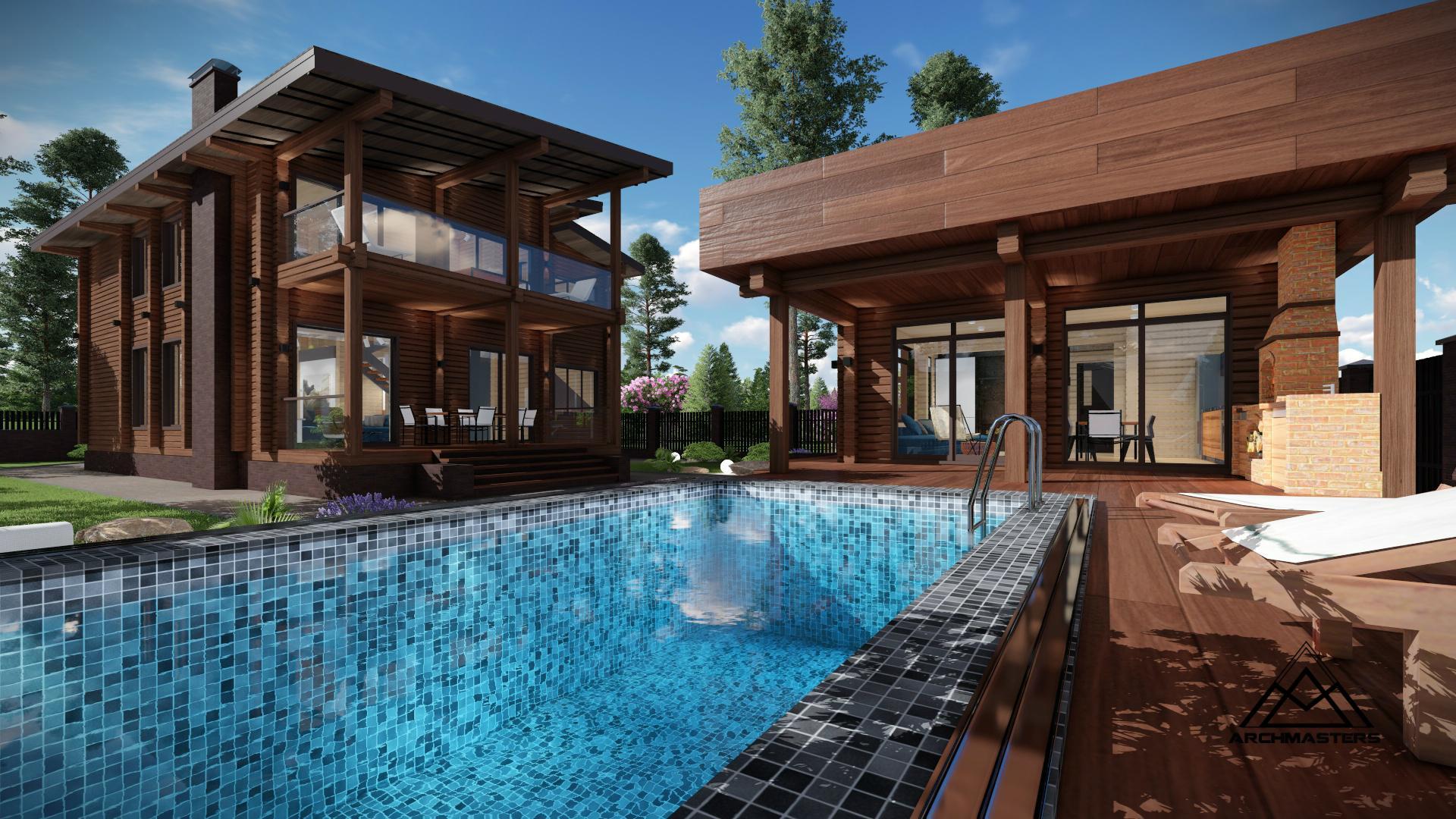 Проект одноэтажного дома с мансардой из профилированного бруса. Проект бани с бассейном и барбекю