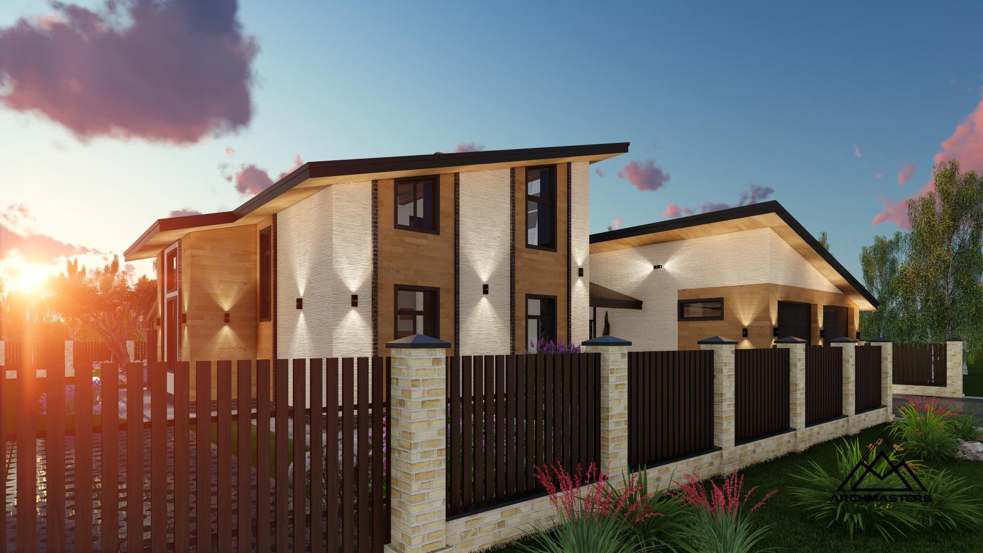 Проект одноэтажного дома с мансардой из кирпича и гаража в комплексе