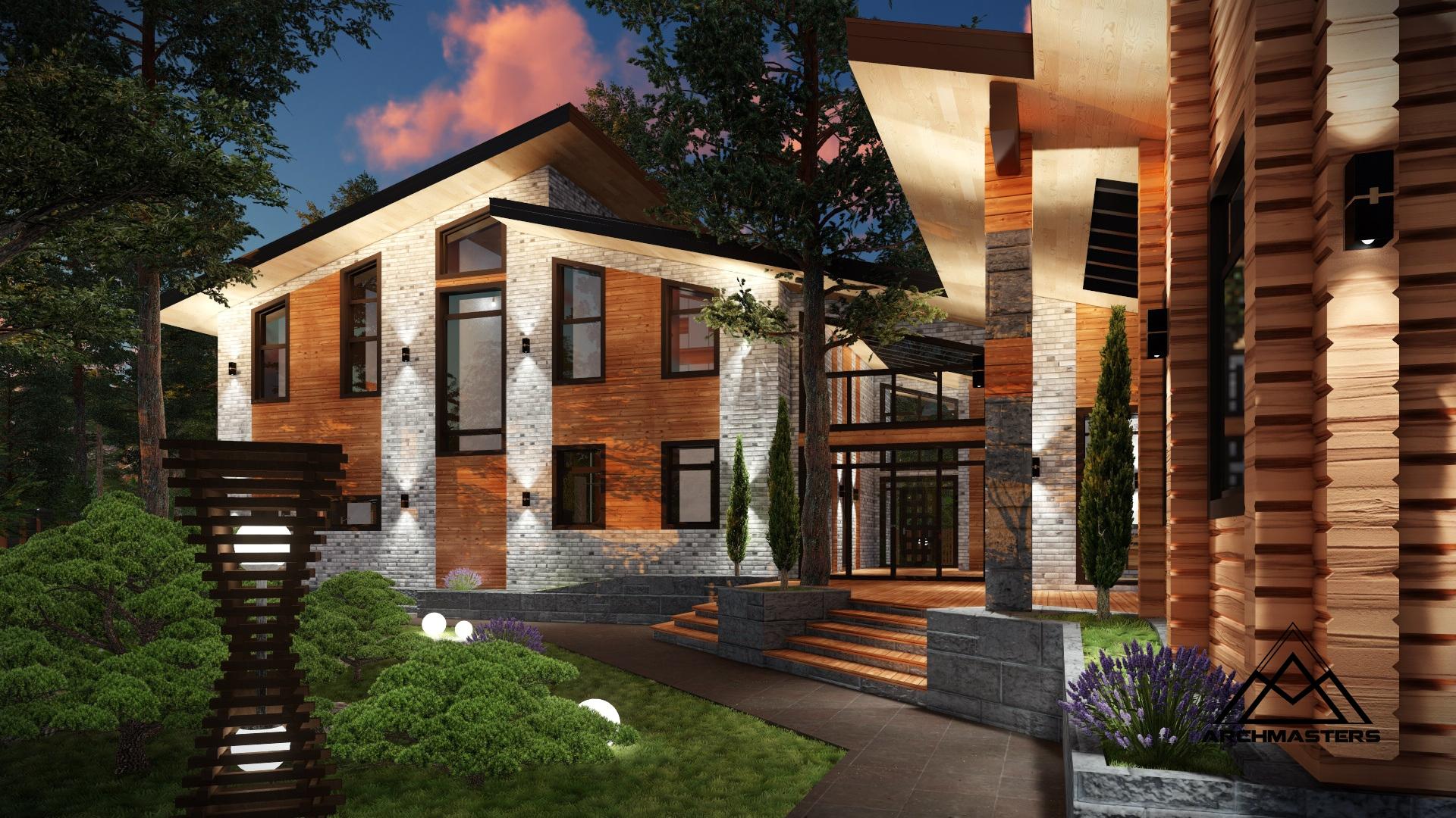 Проект комплекса из дома, гаража, сауны и бани
