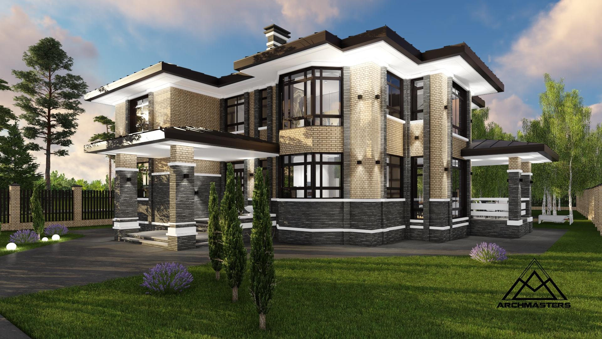Проект двухэтажного дома в стиле Прерий