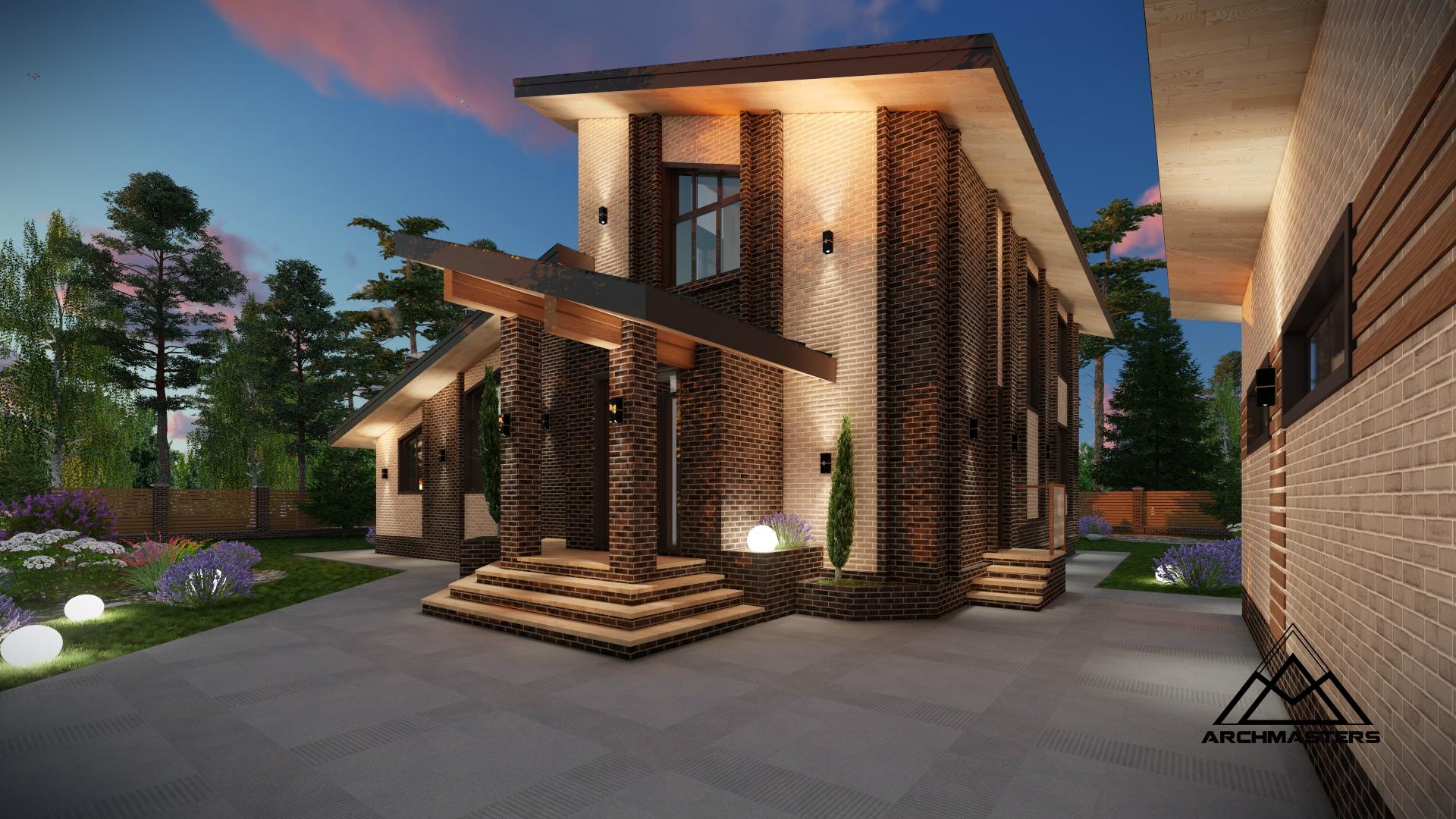 Одноэтажный дом с мансардным этажом из керамического блока