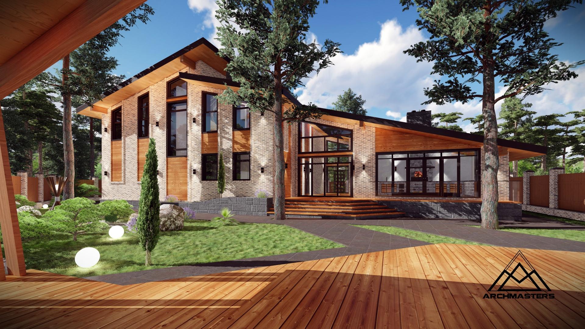 Проект одноэтажного комплекса из дома, гаража и бани