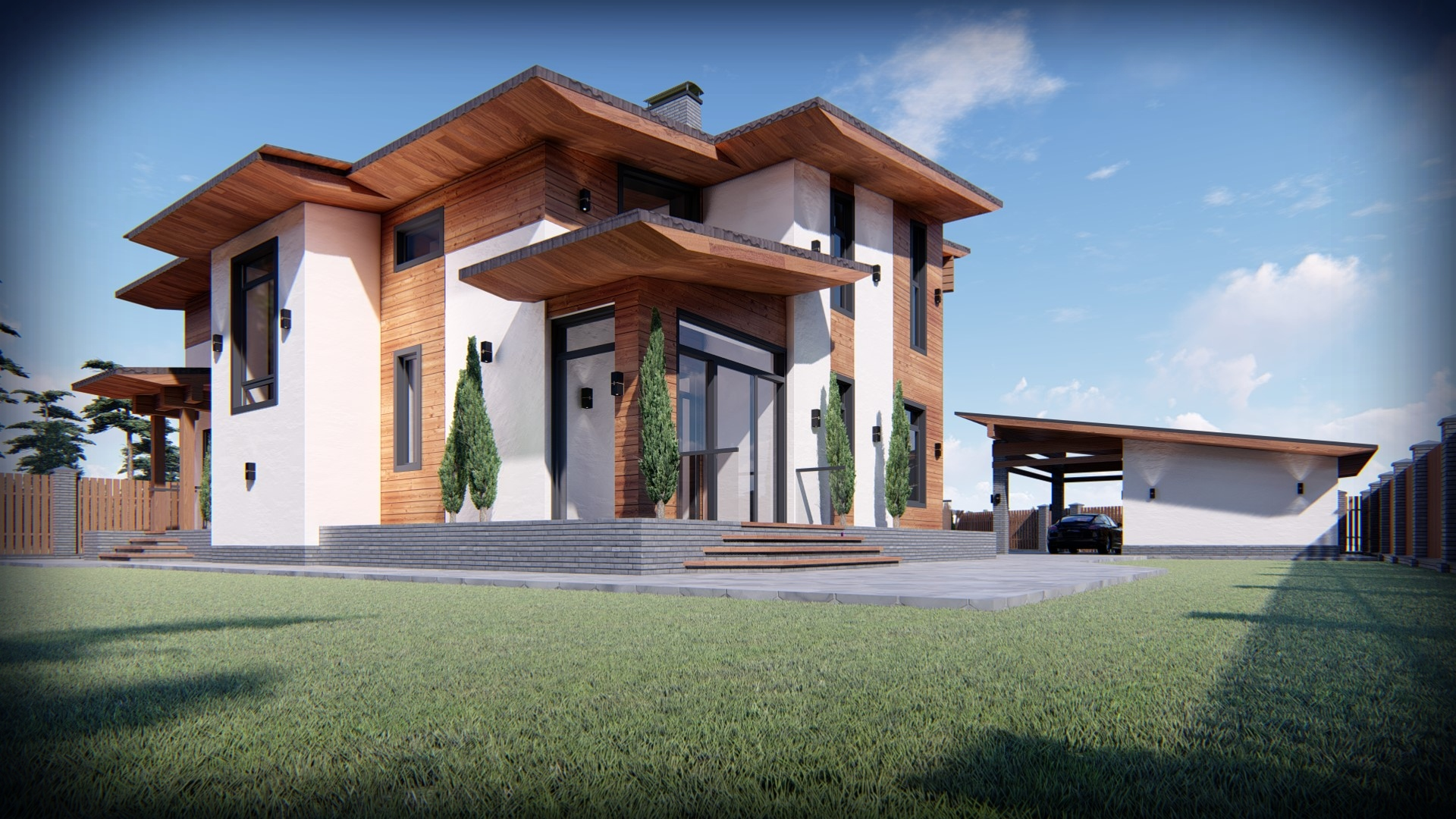 Проект дома из газобетона с большой верандой