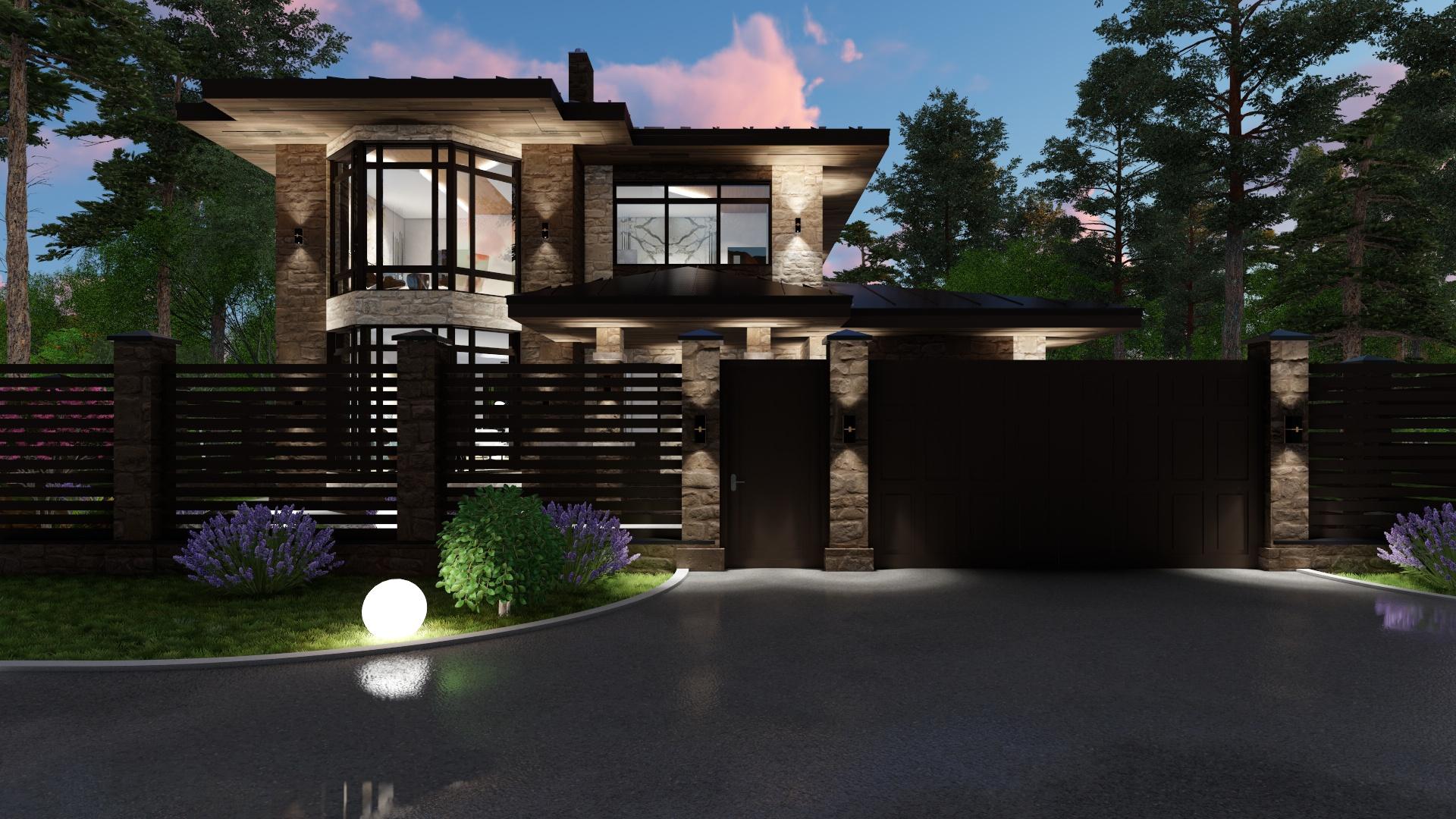 Проект дома из газобетона с облицовкой натуральным камнем